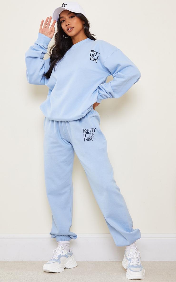 PRETTYLITTLETHING Petite Blue Oversized Track Pants