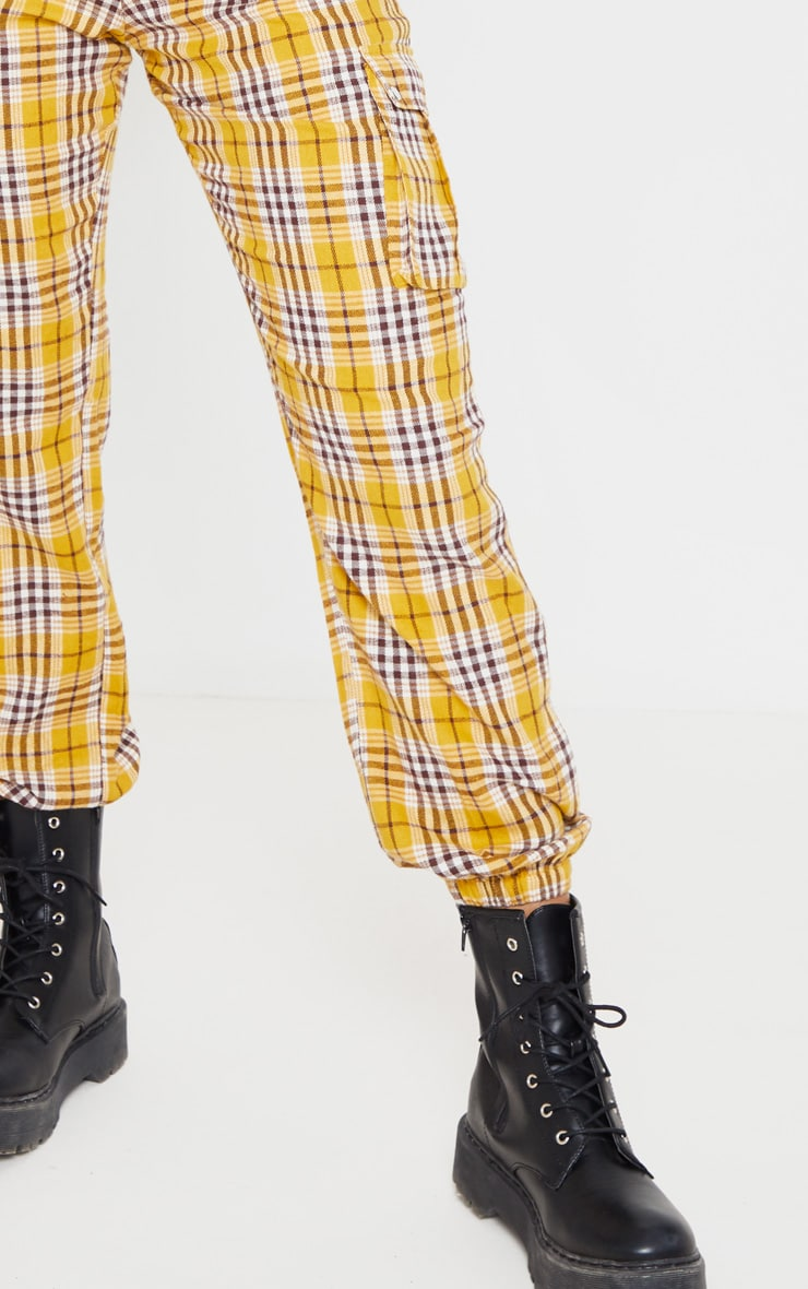 Yellow Check Pocket Detail Cargo Pants 5