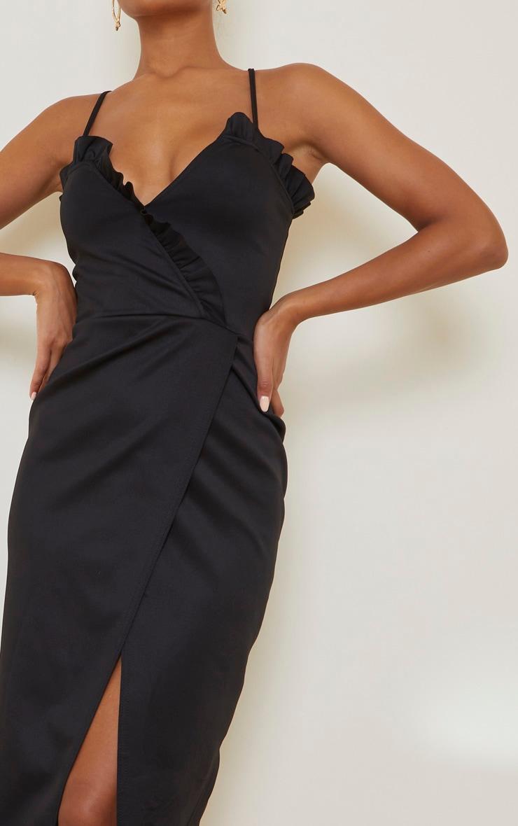 Black Frill Detail Wrap Midi Dress 4