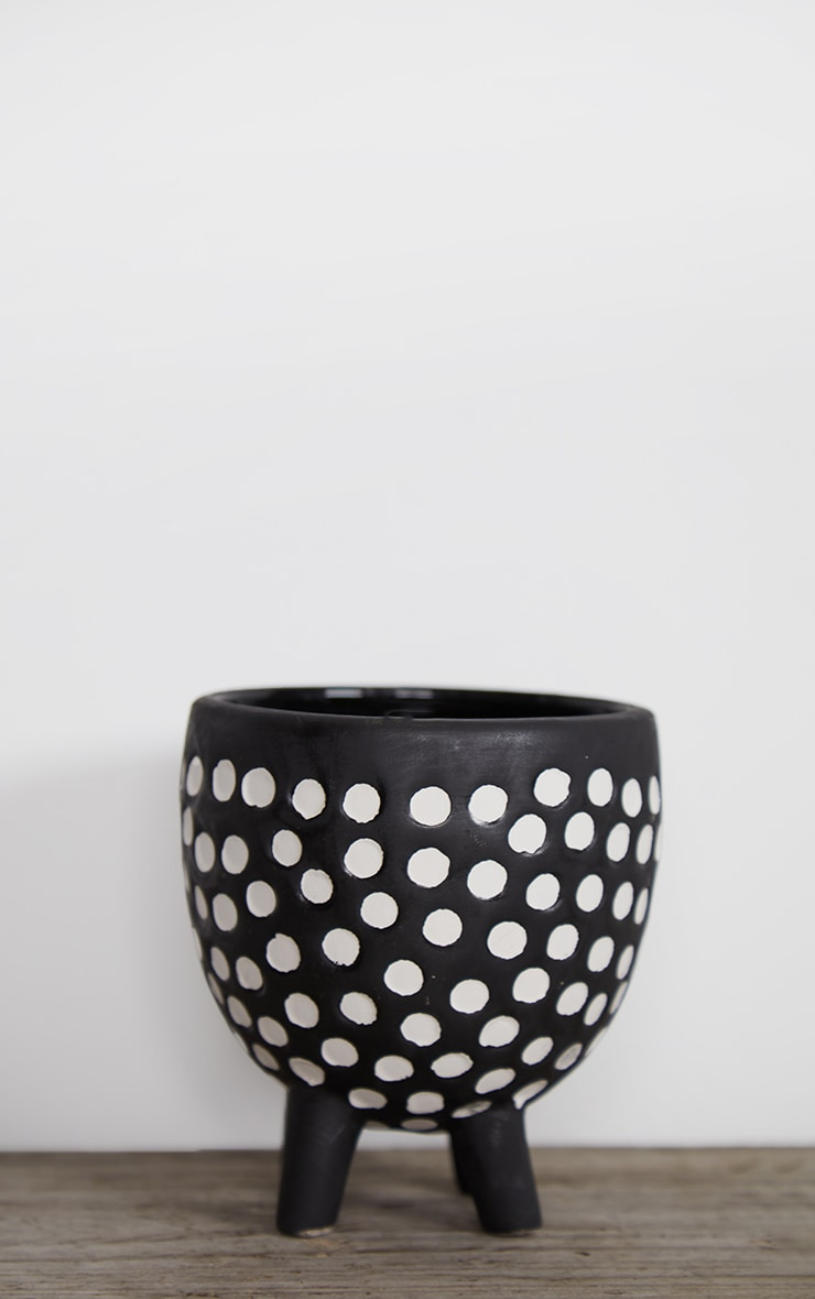 Black Spotted Planter On Legs 1