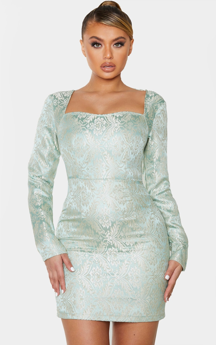 Mint Long Sleeve Jacquard Bodycon Dress 1