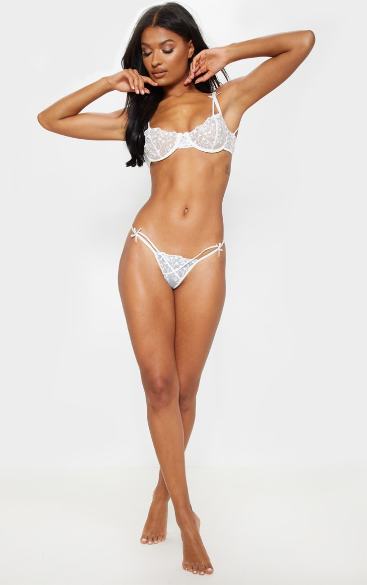 White Delicate Heart Strappy Thong 3