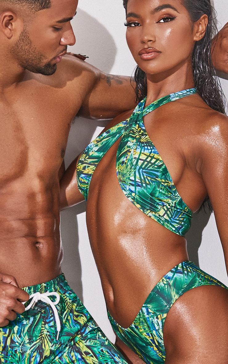 Green Tropical Cross Front Bikini Top 4