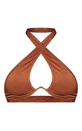 Brown Underwire Cross Front Bikini Top 5