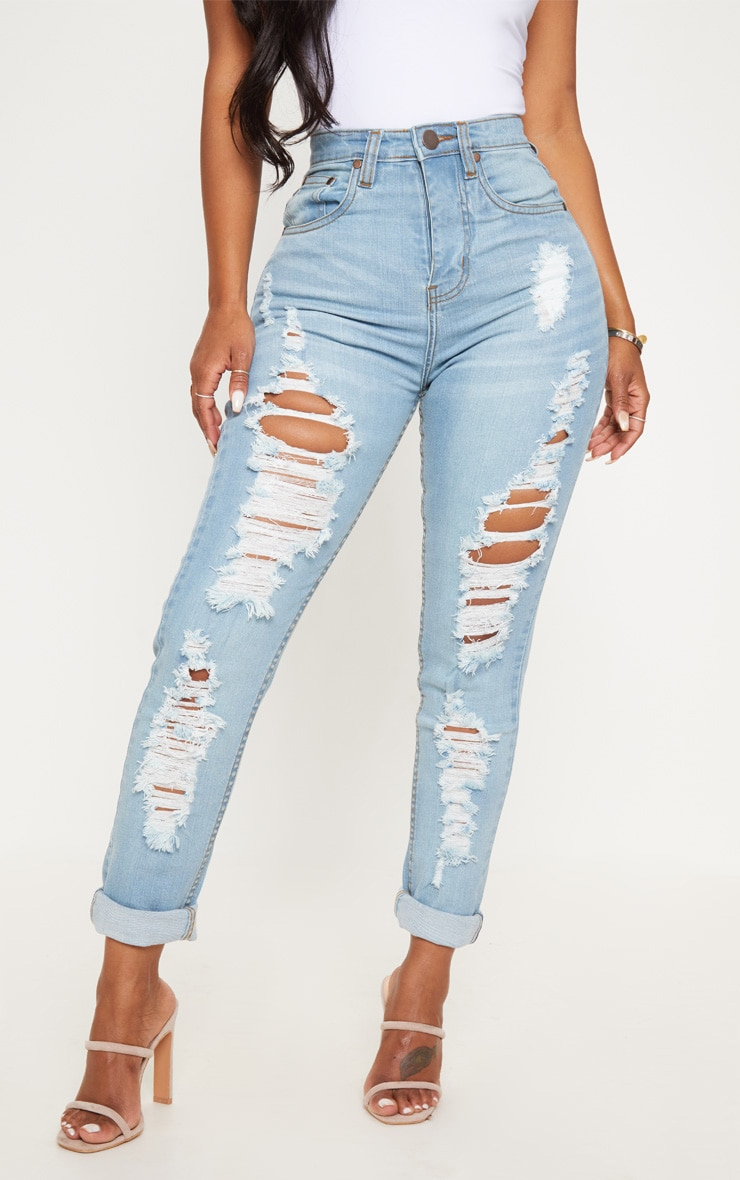 Shape Light Wash Extreme Rip Skinny Jeans 2