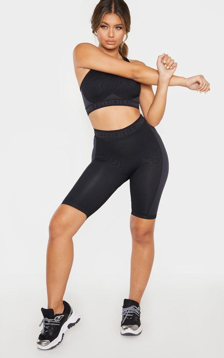 PRETTYLITTLETHING Black Seamless Cycling Short