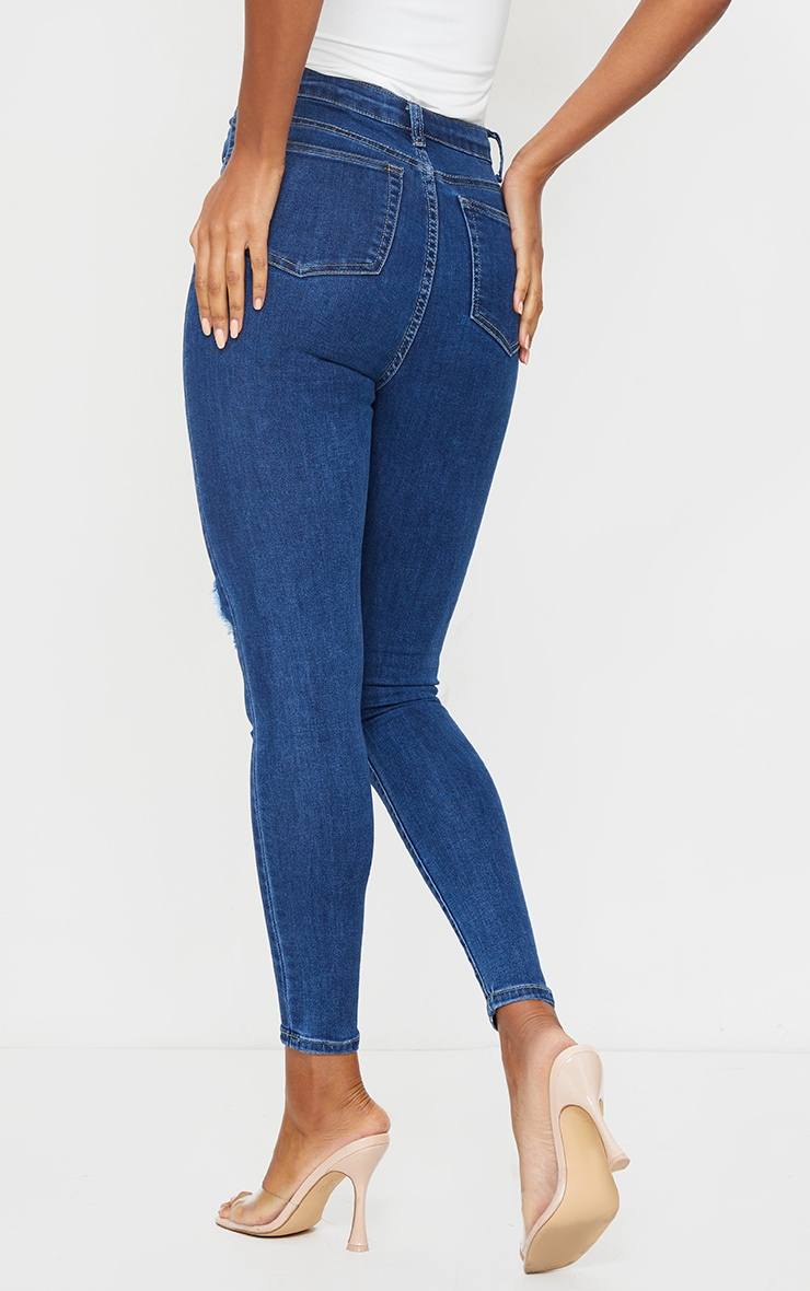 PRETTYLITTLETHING Mid Blue Wash Double Rip 5 Pocket Skinny Jean 3