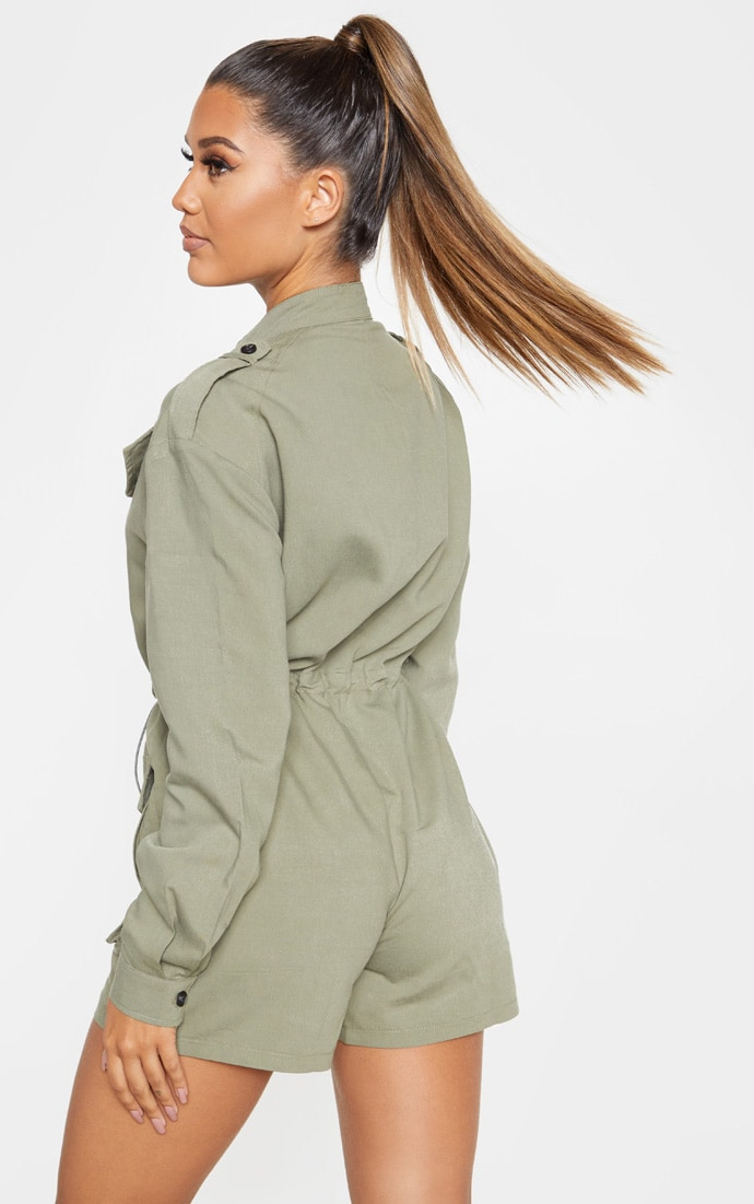Khaki Pocket Detail Utility Style Playsuit 2