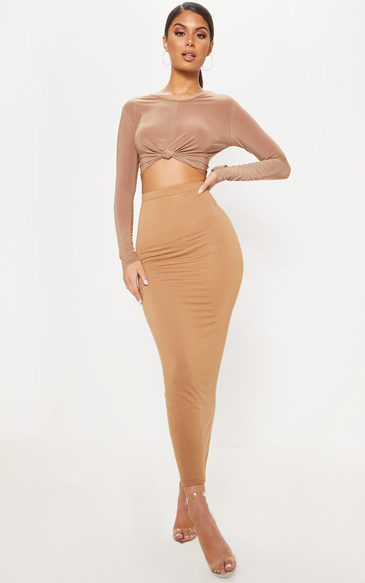 Camel Slinky Knot Front Crop Top 4