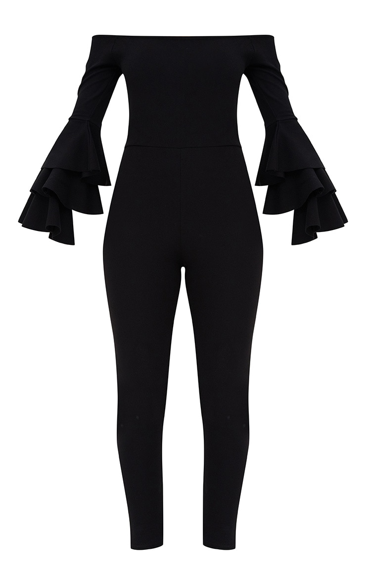 Black Ruffle Layer Sleeve Jumpsuit 3