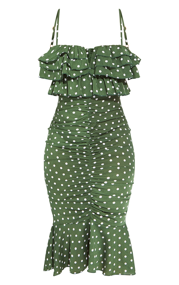 Emerald Green Polka Dot Ruffle Detail Gathered Front Midi Dress 5