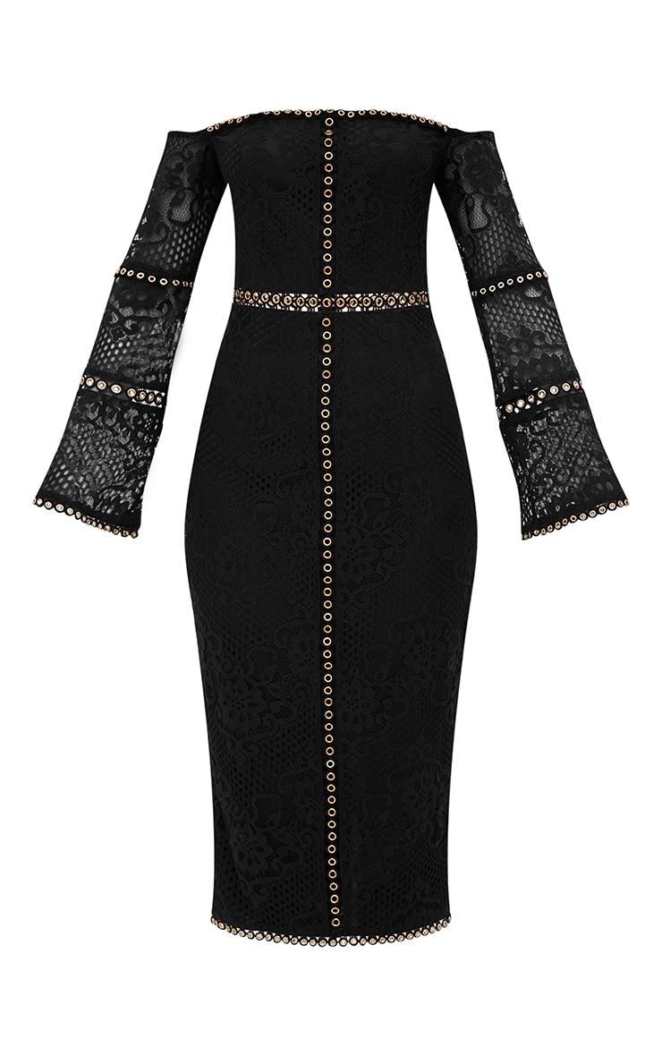 Black Lace Eyelet Detail Bardot Midi Dress  3