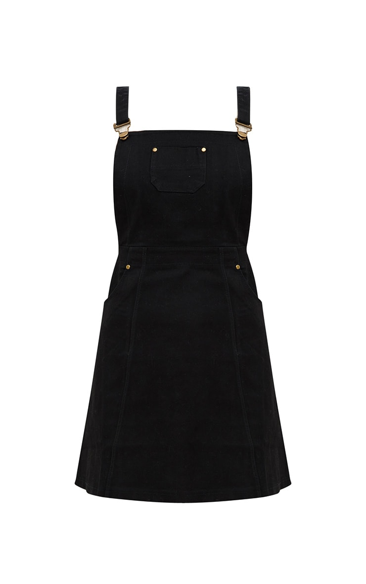 Martine Black Denim Pinafore Dress 3