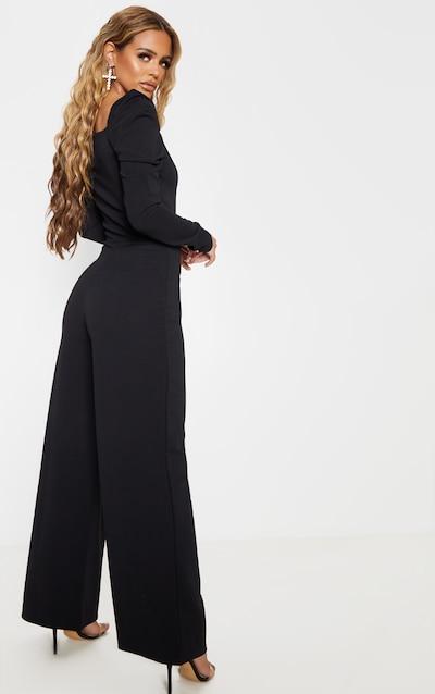 Petite Black Puff Sleeve Wide Leg Jumpsuit