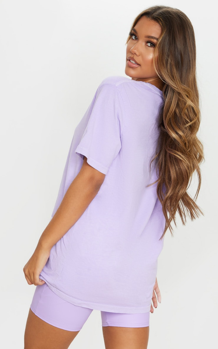 PRETTYLITTLETHING Lilac Embroidered Wash T Shirt 2