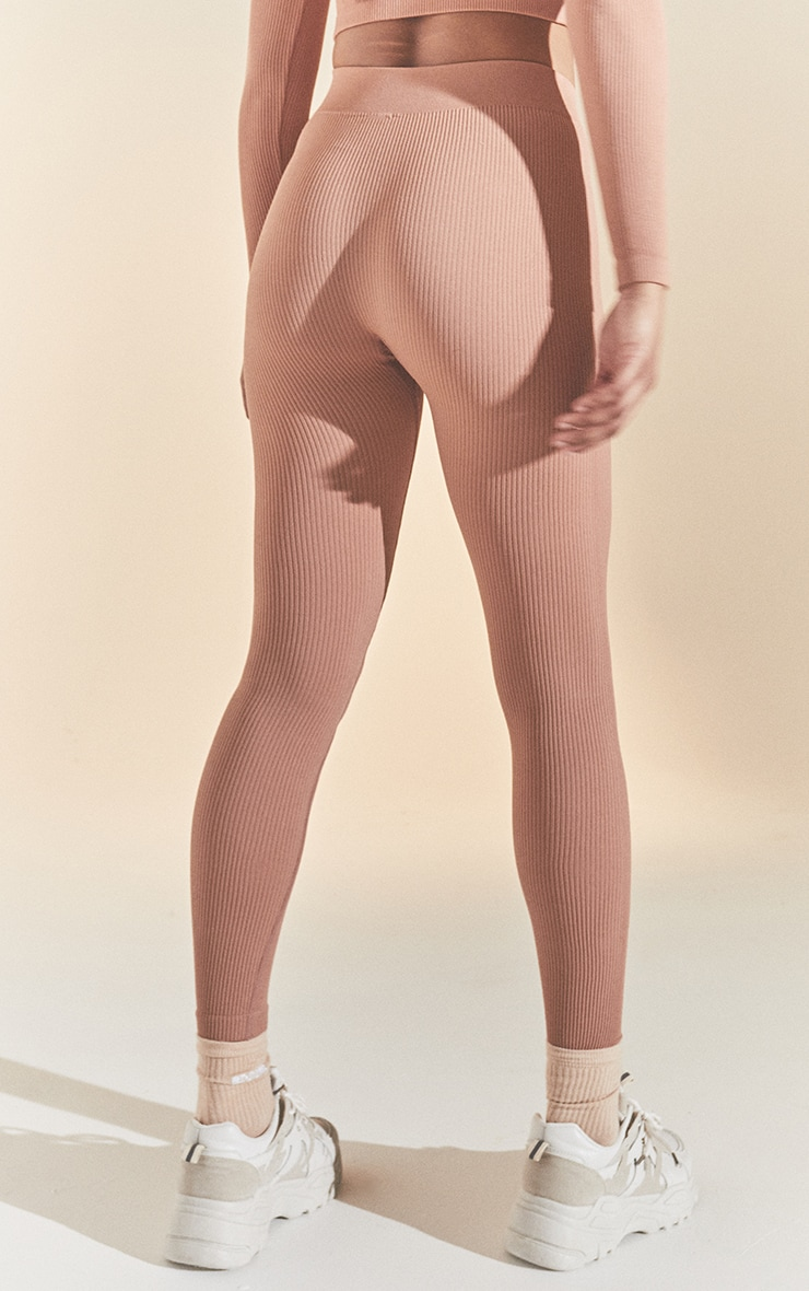Taupe Structured Contour Ribbed Leggings 3
