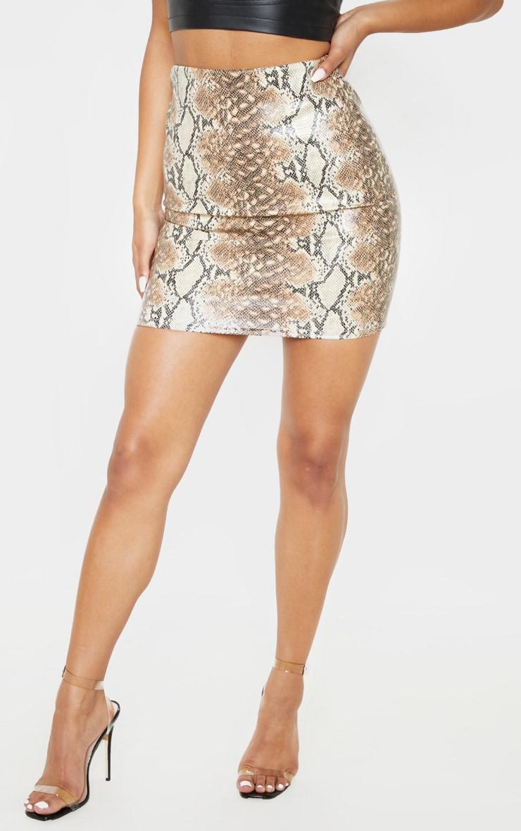 Tan Snake Print Faux Leather Bodycon Mini Skirt  2