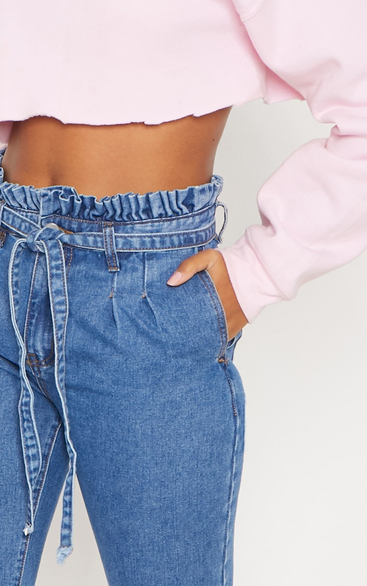 Mid Wash Paperbag Jeans 5