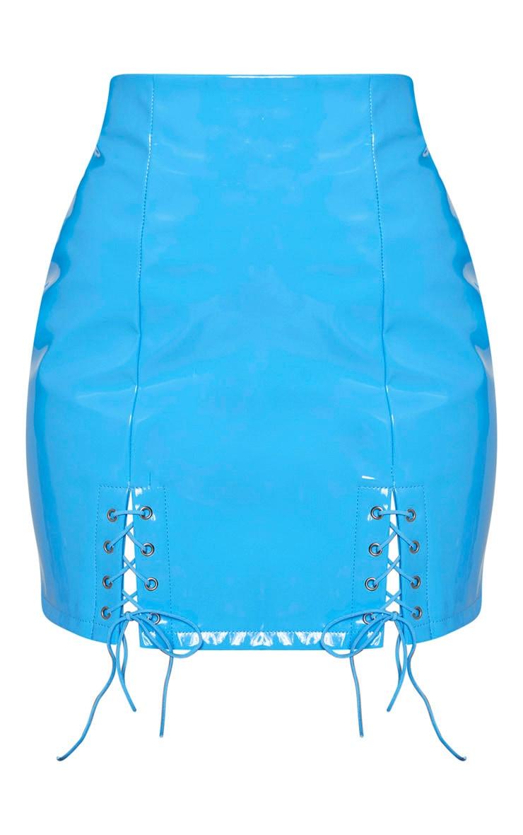 Bright Blue Vinyl Double Lace Up Hem Mini Skirt 3