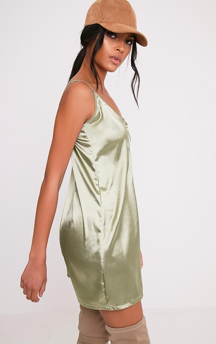 Erin Sage Green Plunge Satin Slip Dress 4