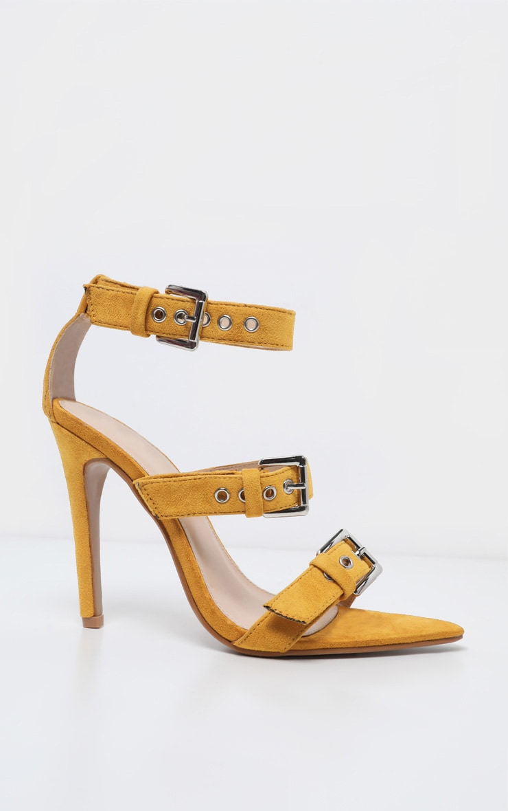 Mustard Point Toe Triple Strap Sandal 3