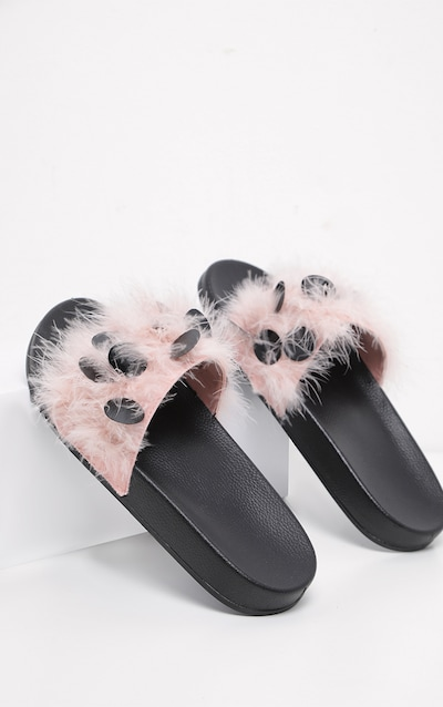 626d6413db60 Nude Sequin Feather Sliders