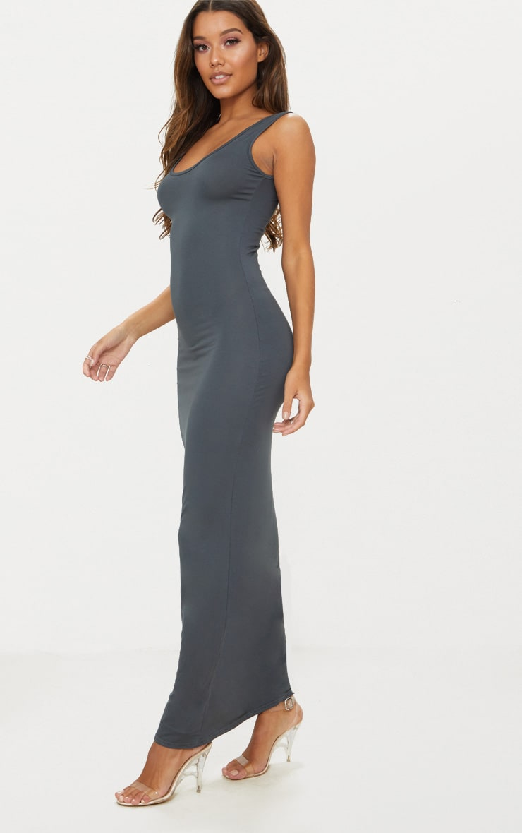 Charcoal Grey Basic Maxi Dress 3