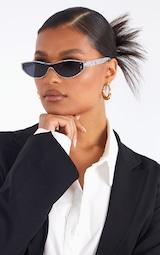 Grey Marble Slimline Round Frame Sunglasses 1