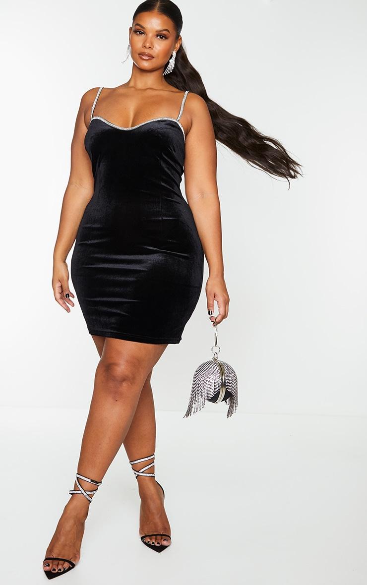 Plus Black Velvet Diamante Trim Strappy Bodycon Dress 1