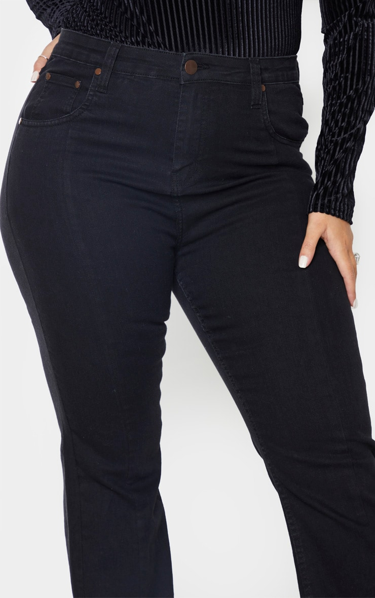 Plus Black Seam Detail Wide Leg Jean 5