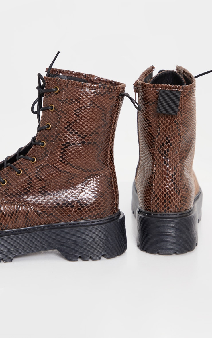 Brown Snake Wide Fit Chunky Sole Lace Up Ankle Boot 4
