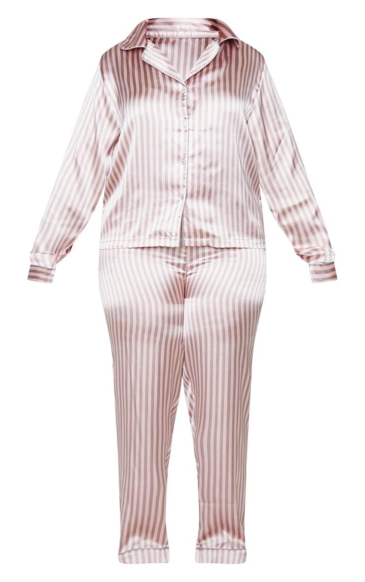 Plus Pink And Grey Stripe Long Satin PJ Set 5