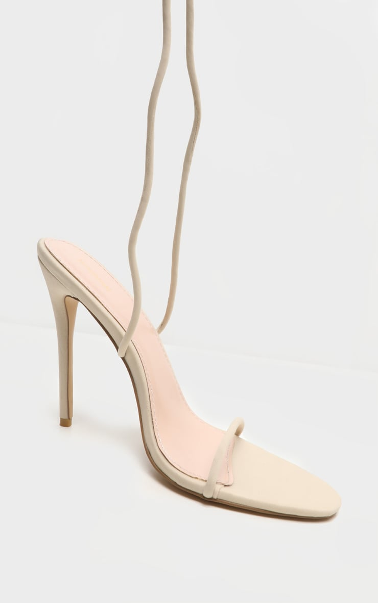 Nude Thigh High Lace Up Strappy Sandal 3