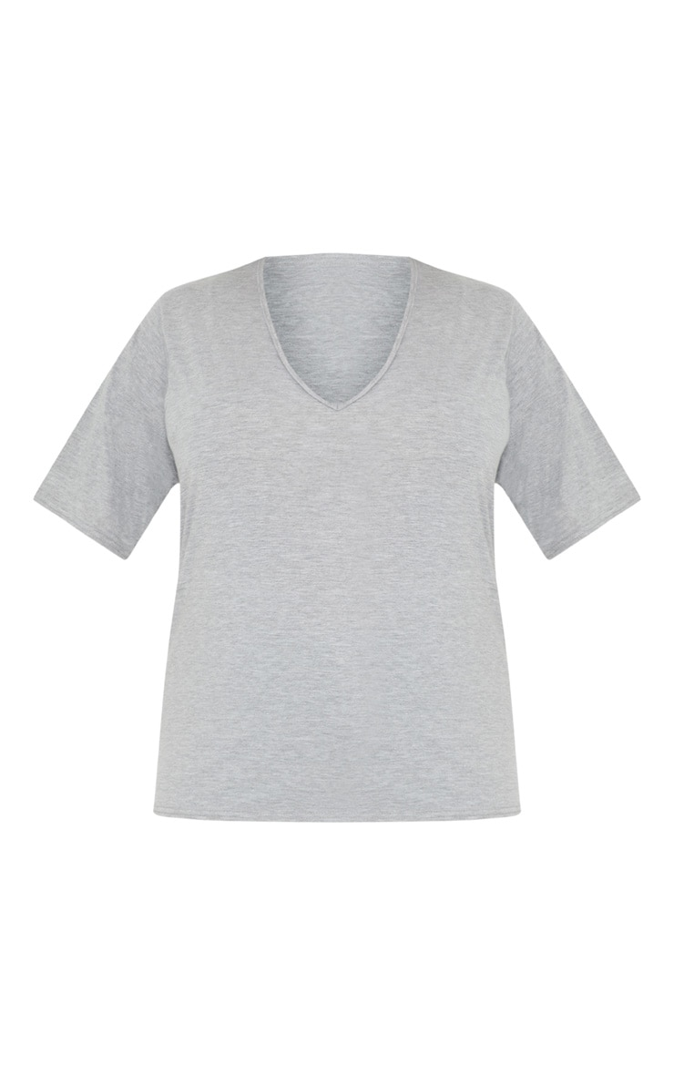 Plus Grey Marl Basic V Neck T Shirt 3