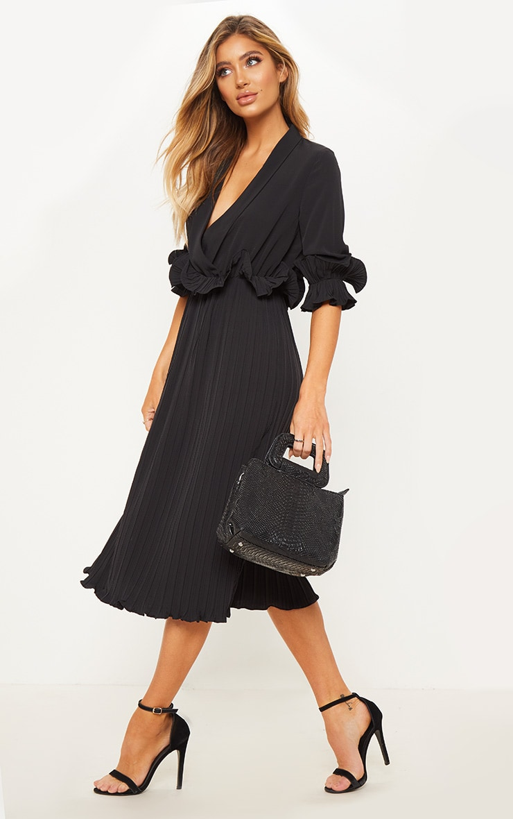 Black Frill Detail Pleated Midi Dress 3