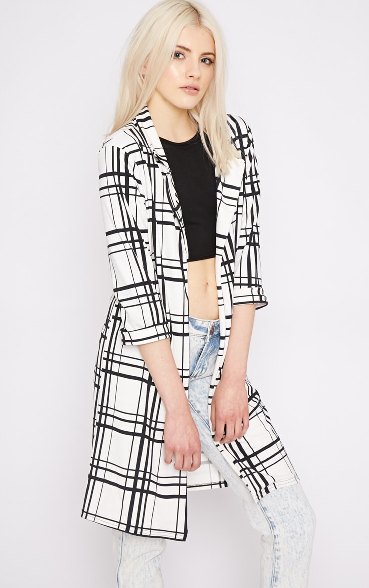 Aggie White Checked Duster Jacket  3