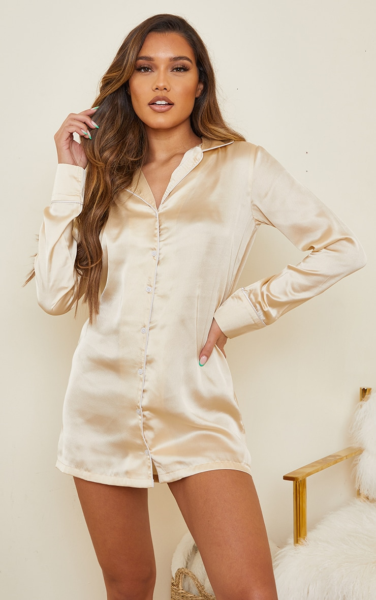 Champagne Mix And Match Piped Detail Satin Nightshirt
