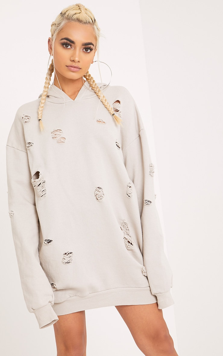 Raular Grey Distressed Hooded Sweater Dress 1
