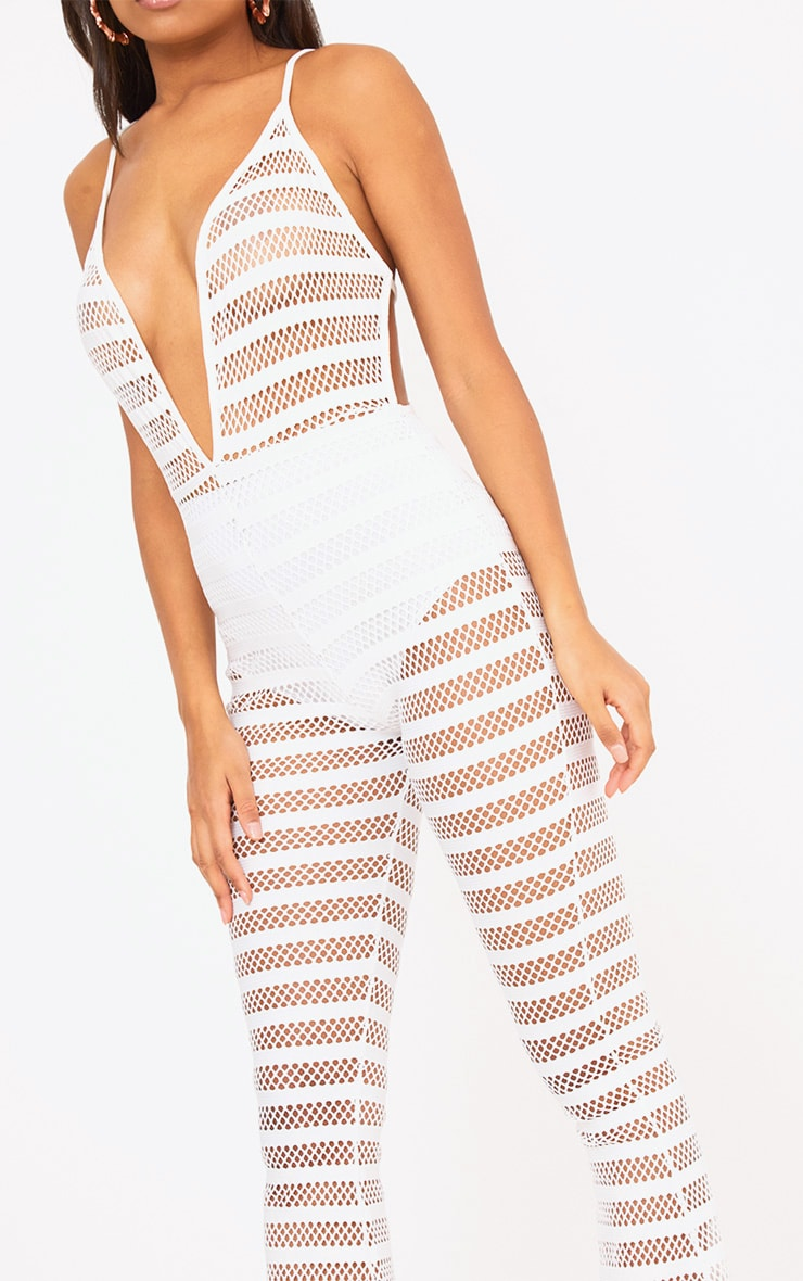 White Knitted Plunge Wide Leg Jumpsuit 5