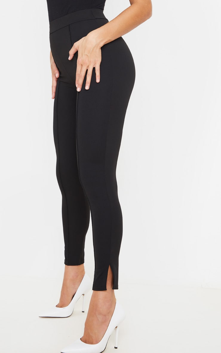 Black Stitch Detail Side Split Hem Skinny Trousers 2