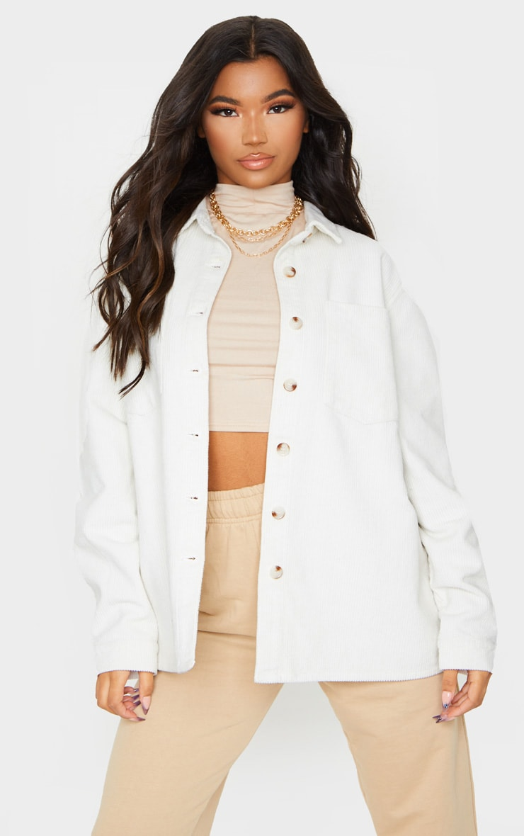 White Jumbo Cord Long Sleeve Denim Shirt 1
