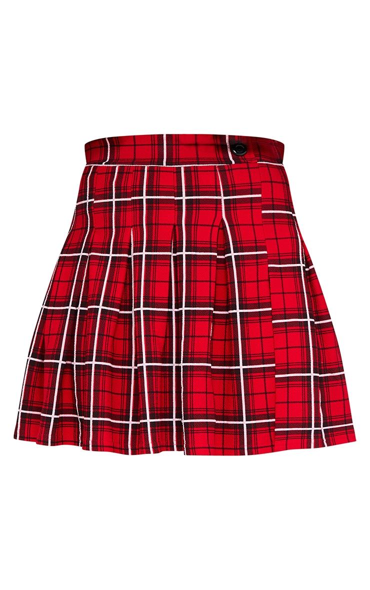 Red Tartan Check Tennis Skirt 5