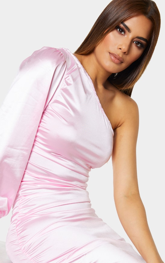 Tall Pink One Shoulder Satin Ruched Side Midi Dress 4