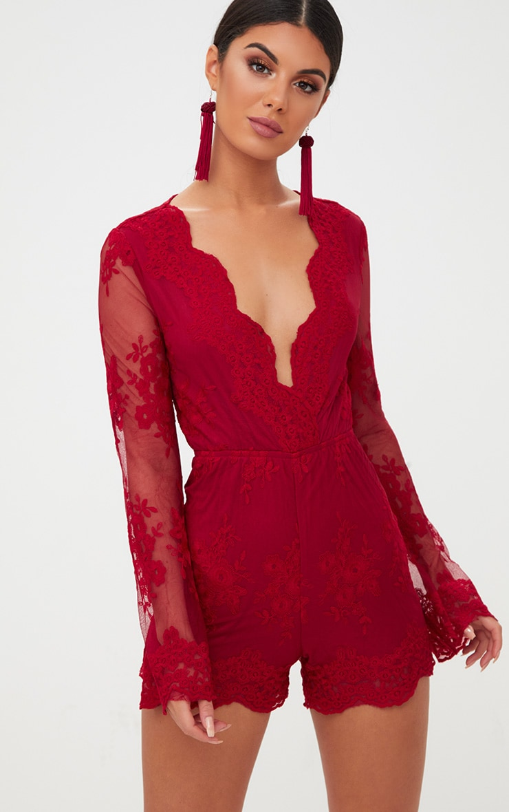 Red Lace Bell Sleeve Playsuit image 1