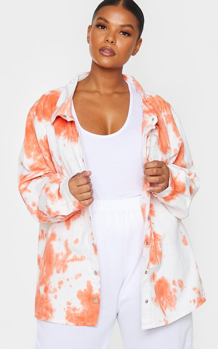 Plus Peach Tie Dye Popper Denim Shirt 3