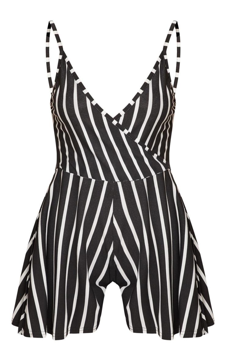 Black Stripe Strappy Wrap Playsuit 3