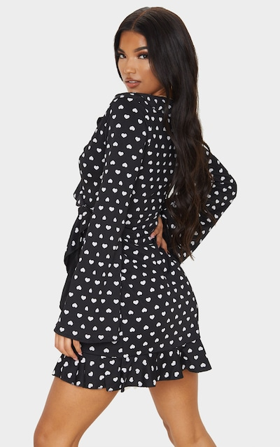Black Heart Print Long Sleeve Wrap Tea Dress