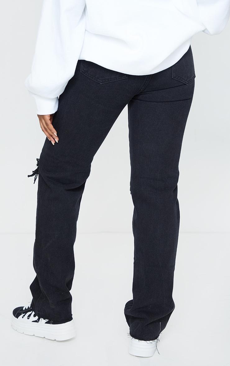 PRETTYLITTLETHING Petite Black Ripped Long Leg Straight Jeans 3
