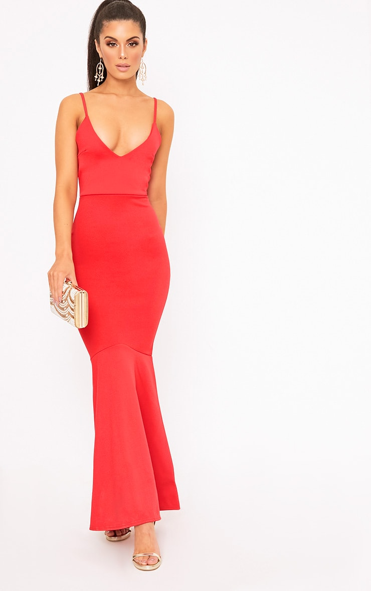 Red Plunge Fishtail Maxi Dress 1
