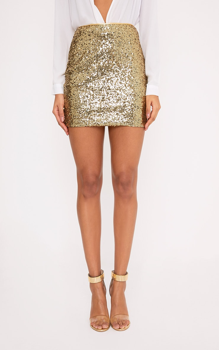Violette Gold Sequin Mini Skirt 2